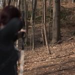 Bogenschießen Waldparcours 3D-Ziel Wildschwein Schützin mit Hoy Buffalo Recurve Bogen