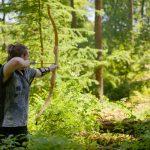Pfeil und BogenWelt Dortmund Waldparcours, Bogenschießen Schütze mit Recurve Bogen